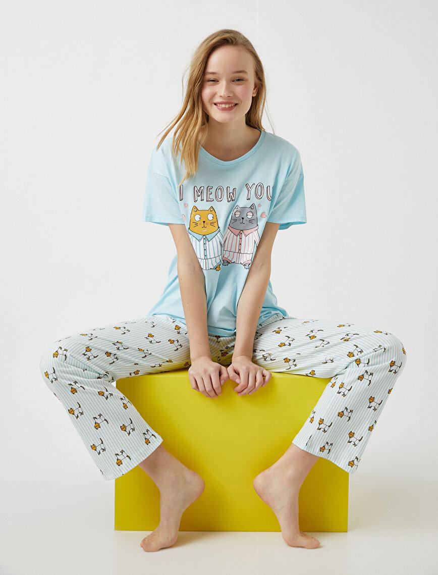 %100 Pamuk Hayvan Baskılı Pijama Takımı