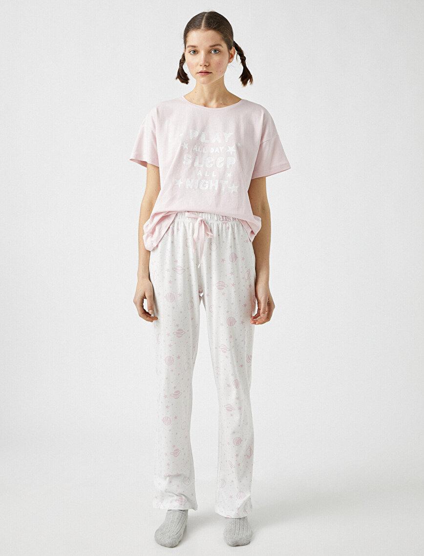 %100 Pamuk Yazılı Baskılı Pijama Takımı