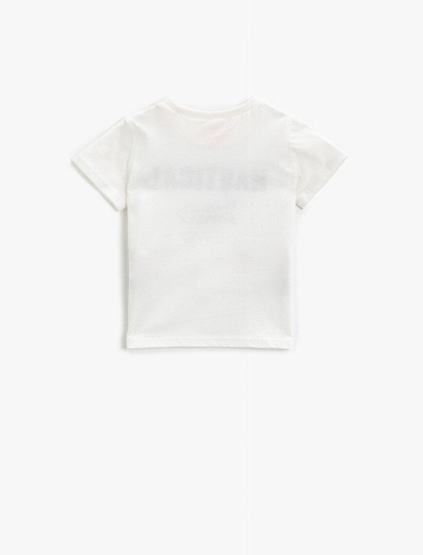 Kısa Kollu Tişört Şeritli Yazılı Baskılı Pamuklu