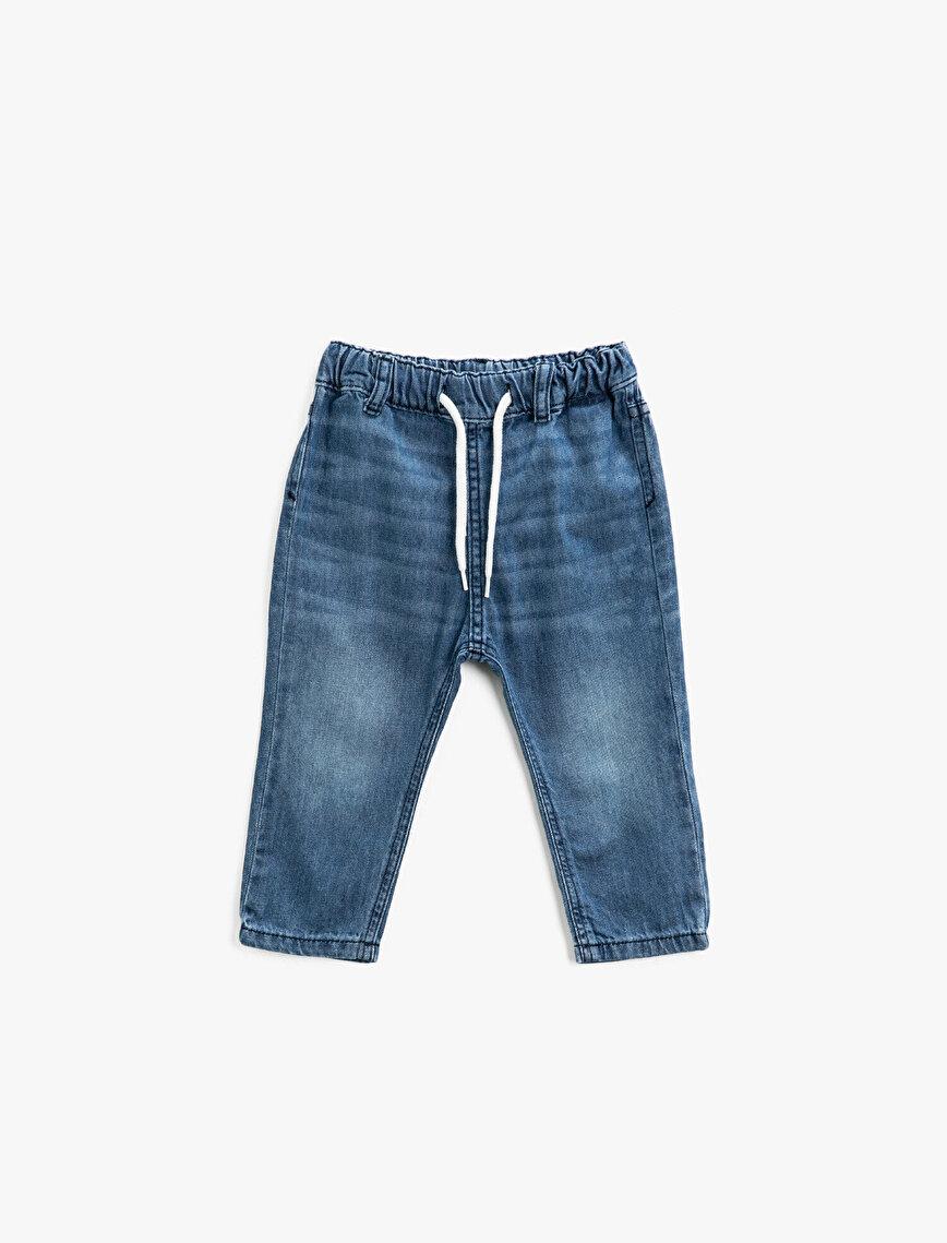 Drawstring Cotton Jeans