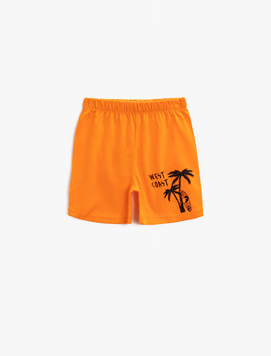 Printed Shorts Cotton Drawstring