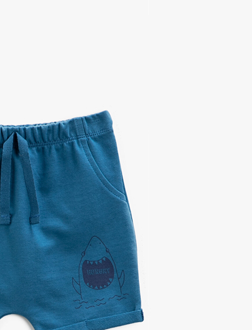 Printed Shorts Cotton Drawstring