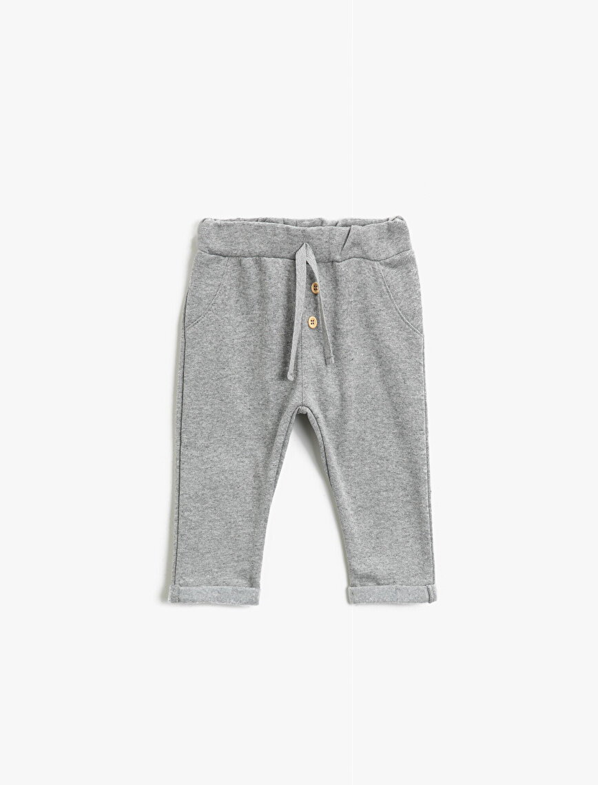 Drawstring Button Detailed Basic Jogging Pants