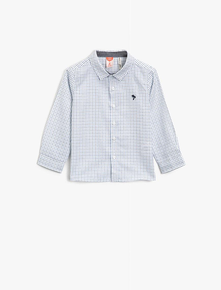 Pamuklu Kareli İşlemi Uzun Kollu Gömlek