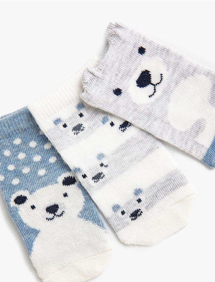 Erkek Bebek Desenli Çorap Seti Pamuklu