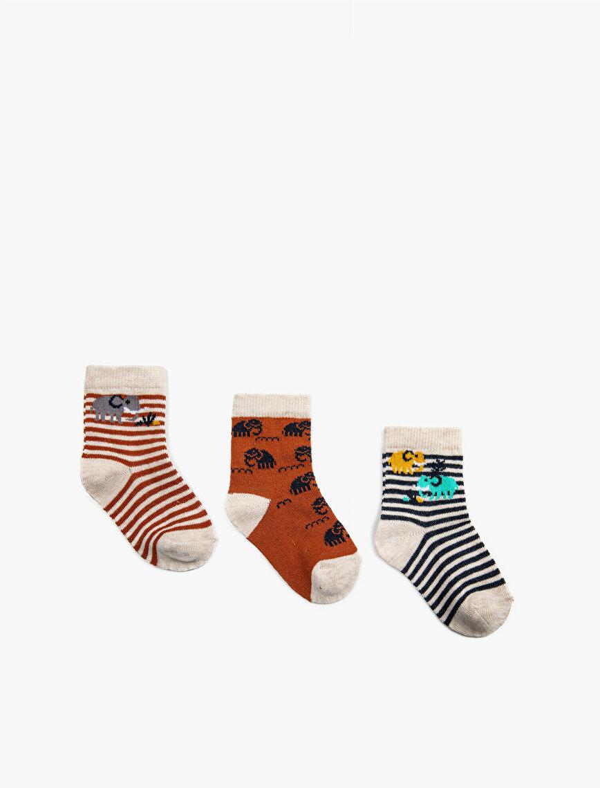 Erkek Bebek Çizgili Çorap Seti Pamuklu