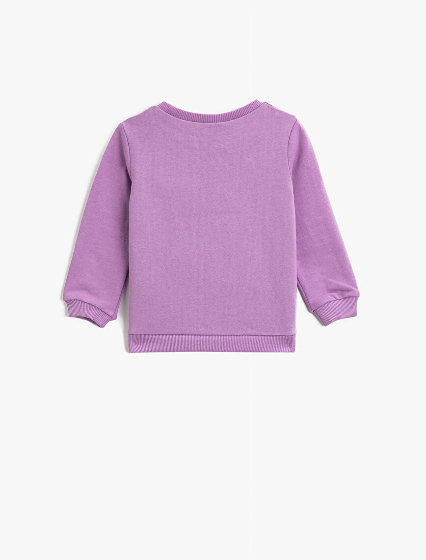 Letter Printed Cotton Crew Neck Long Sleeve Sweatshirt