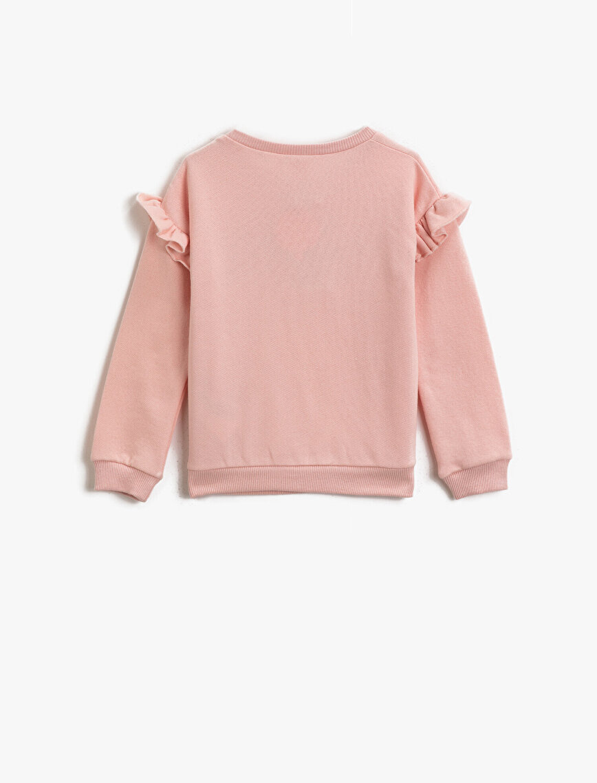 Cotton Letter Silvery Long Sleeve Frilled Sweatshirt