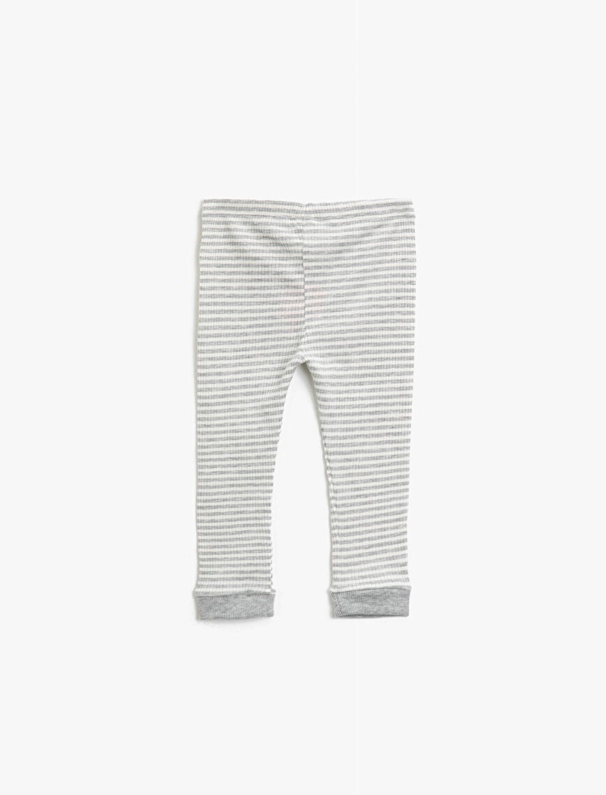 Striped Cotton Medium Rise Leggings