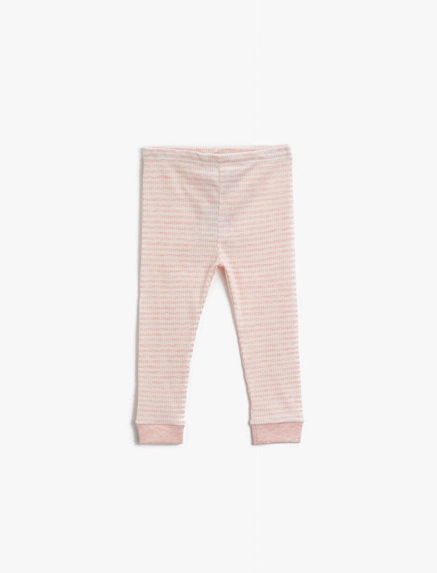 Striped Cotton Medium Rise Leggings