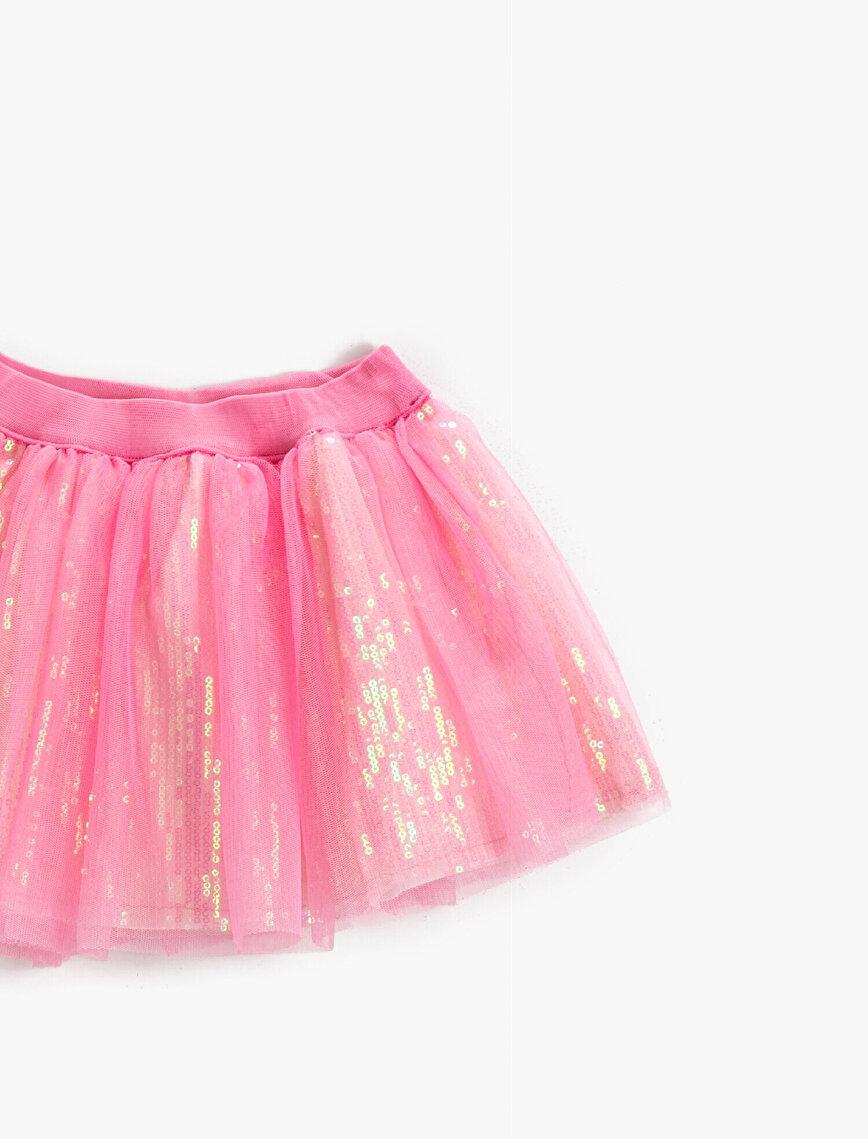 Tulle Detailed Skirt Sequinned