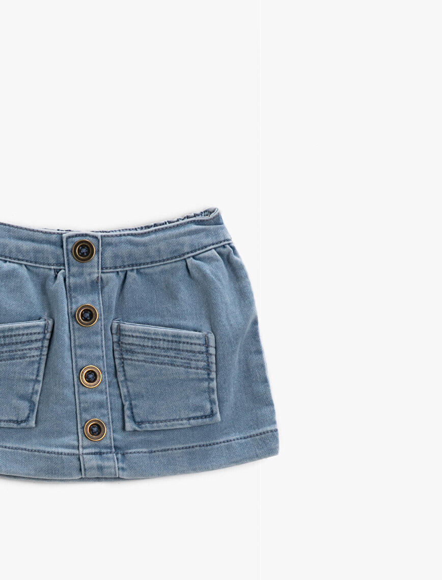 Cotton Button Front Skirt