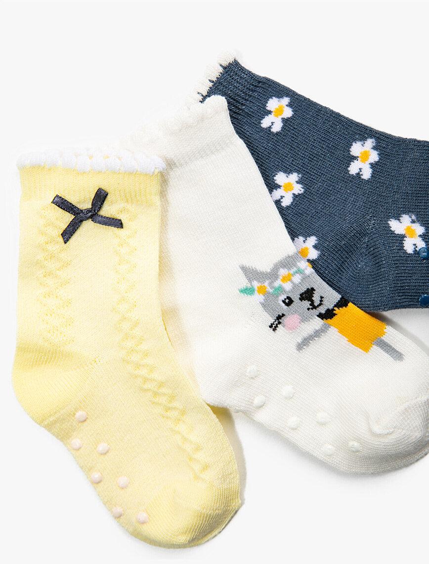 Kız Bebek Desenli Çorap Seti Pamuklu