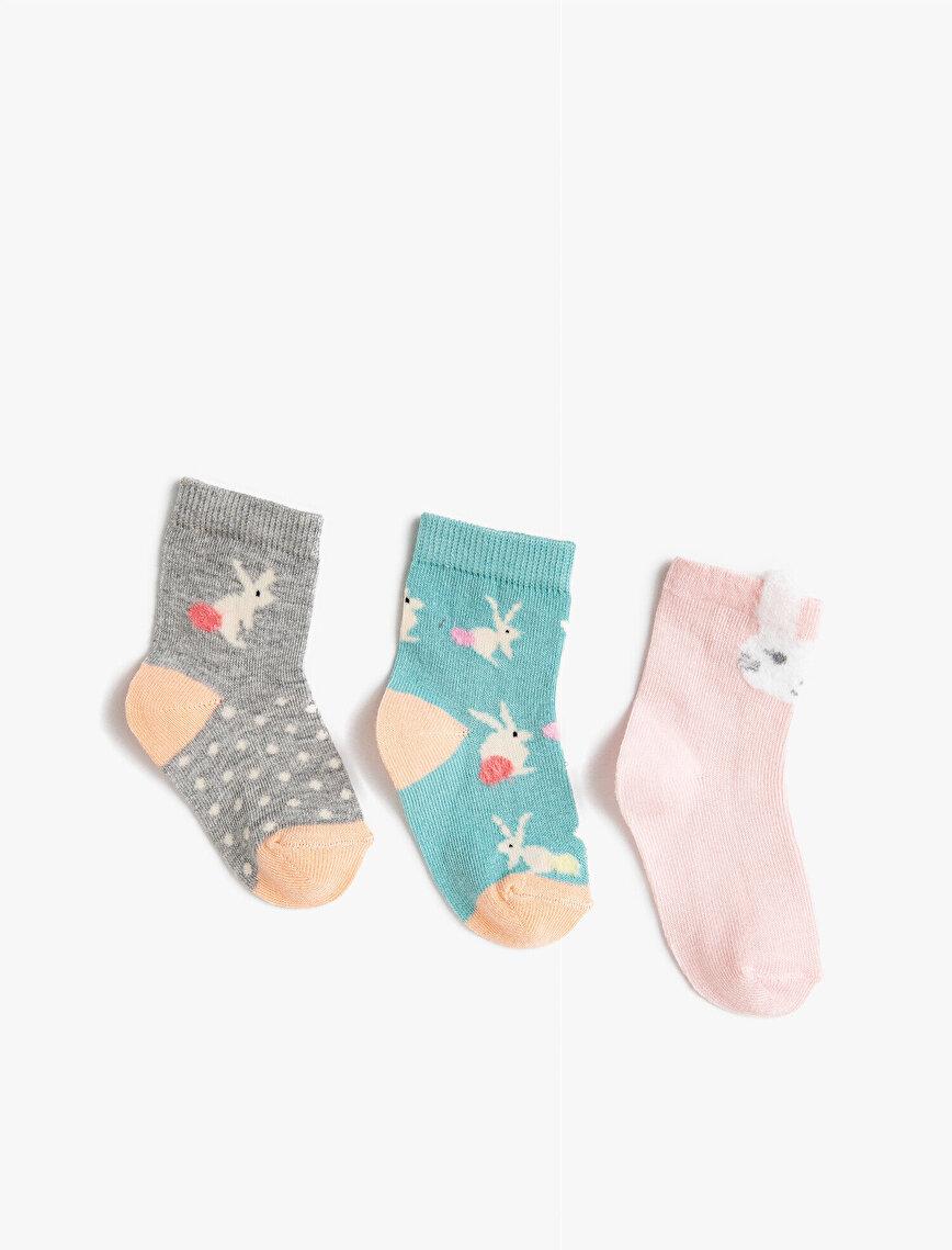 Kız Bebek Tavşanlı Çorap Seti Desenli Pamuklu