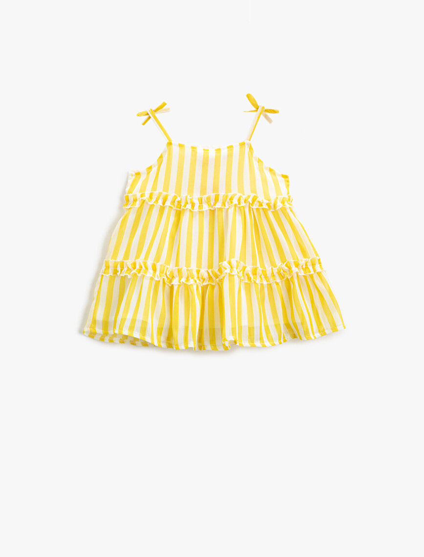 Çizgili Elbise Fırfırlı