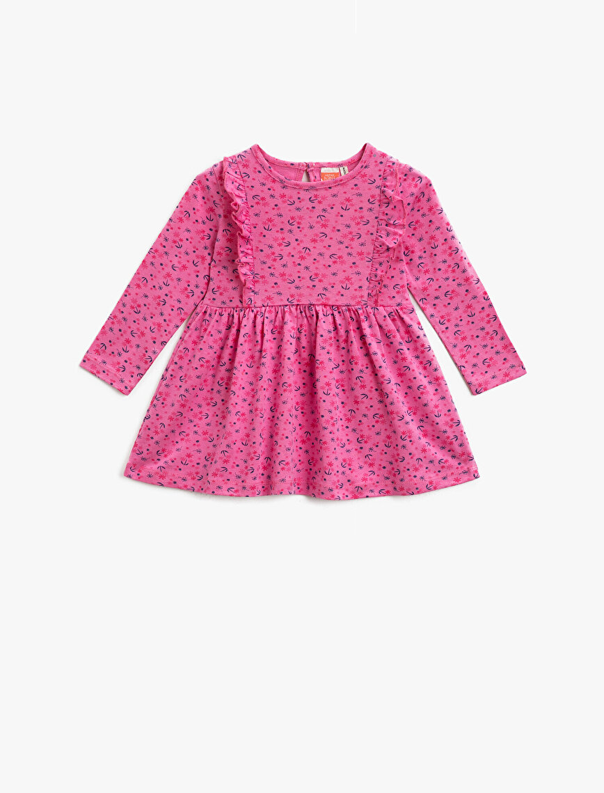 Frilled Dress Patterned Cotton Long Sleeve Crew Neck