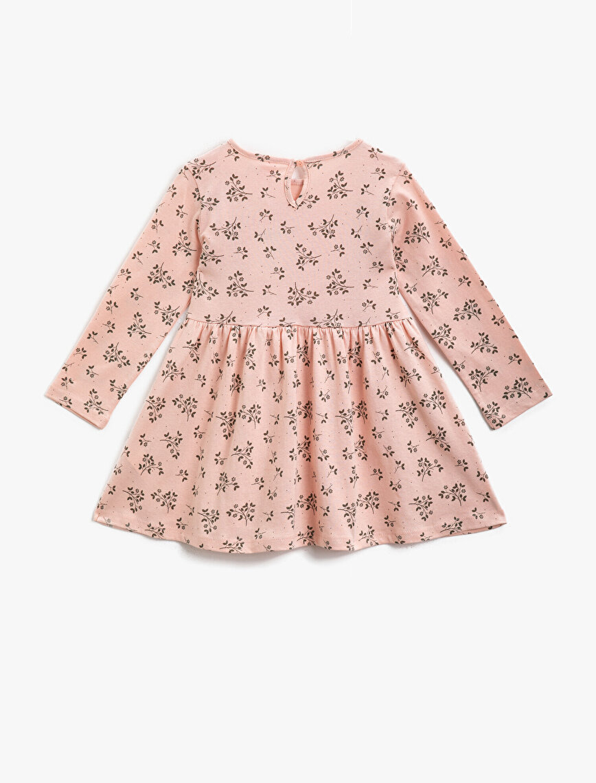 Floral Frilled Cotton Long Sleeve Dress