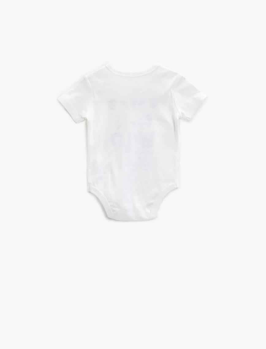 Baskılı Bodysuit Cotton Short Sleeve