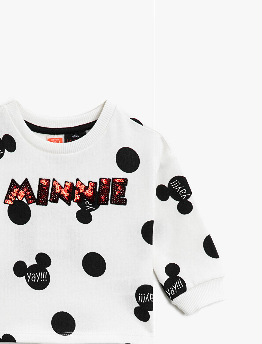 Minnie Mouse Licensed Sequinned Printed Crew Neck Cotton Sweatshirt