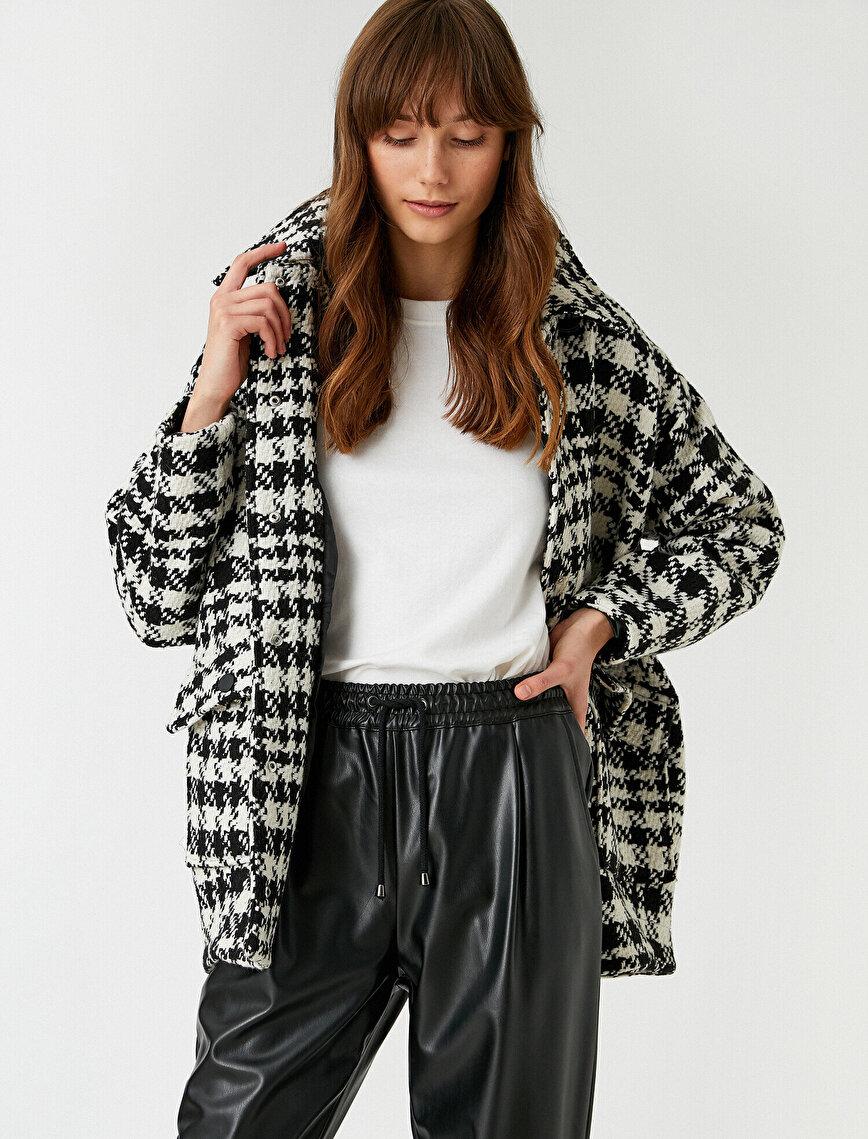 Gingham Plaid Coat Pocket Front