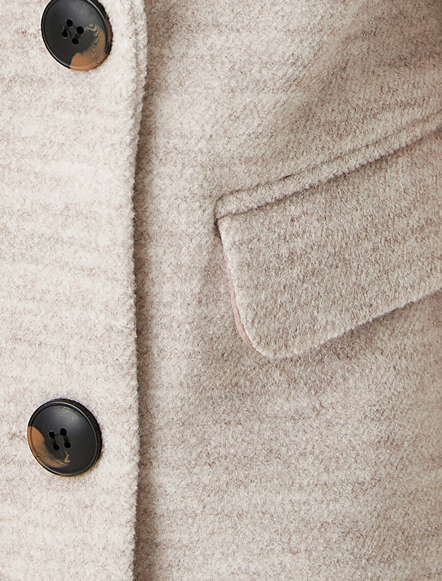 Button Detailed Peacoat