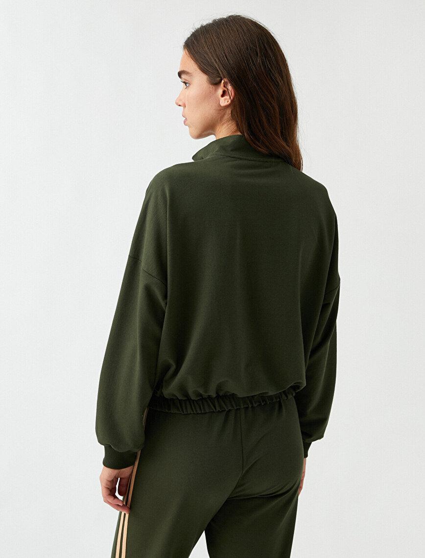 Yakası Fermuarlı Sweatshirt Dik Yaka Pamuklu