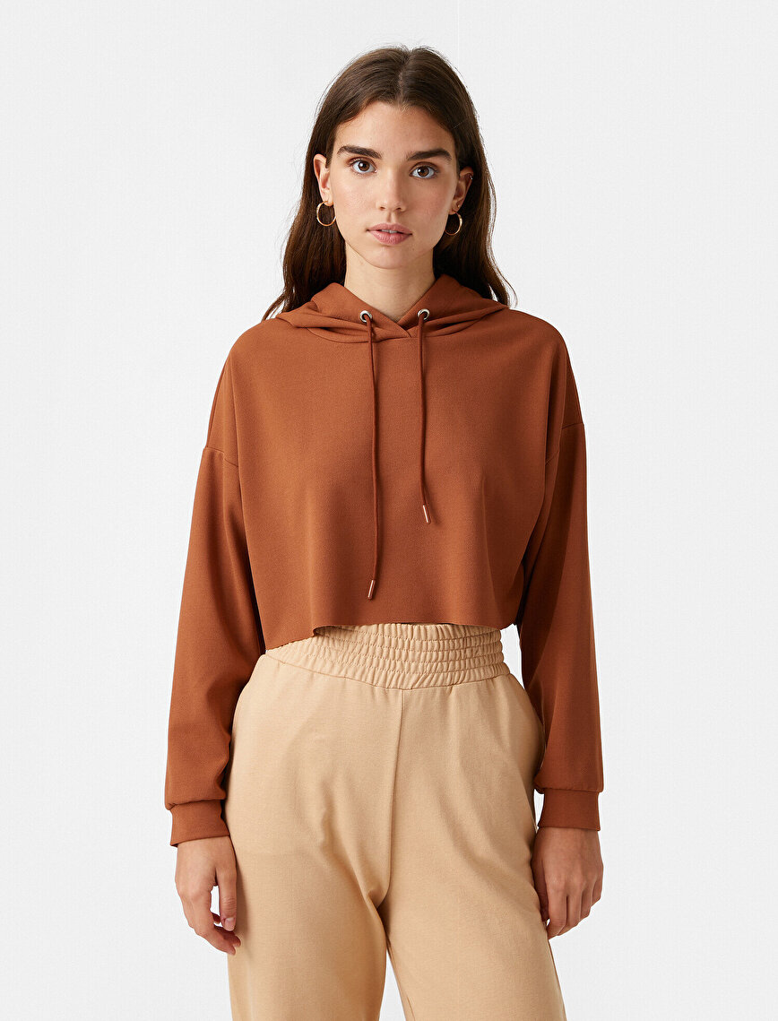 Kapüşonlu Crop Sweatshirt Basic