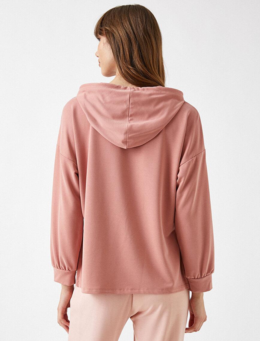 Basic Kapşonlu Sweatshirt Yırtmaç Detaylı