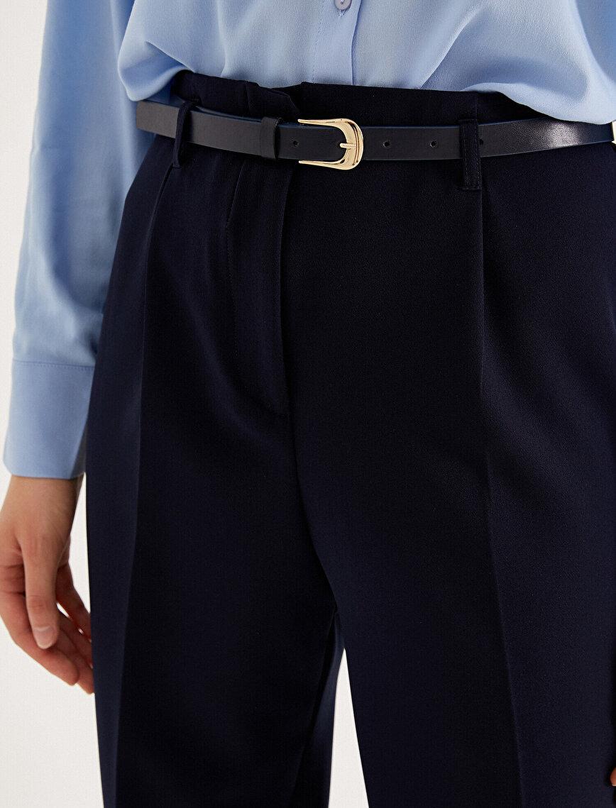 Kemerli Havuç Pantolon Yüksek Bel