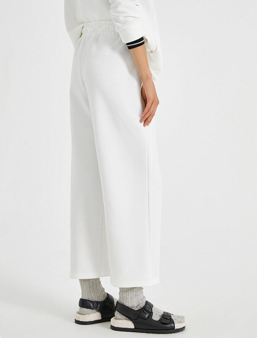 Yüksek Bel Pantolon Önü Şeritli Beli Büzgülü