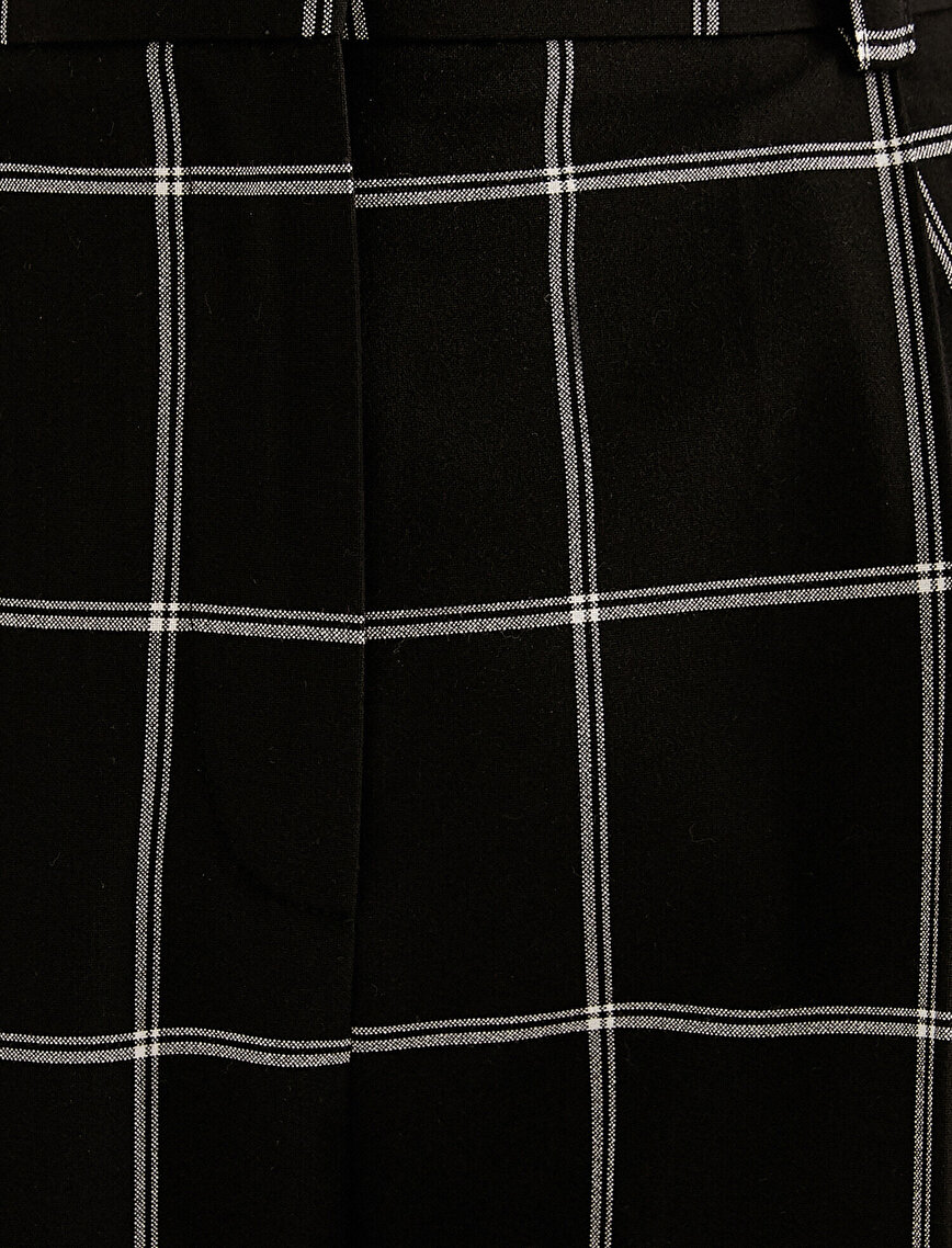 High Waist Checked Oversize Trousers
