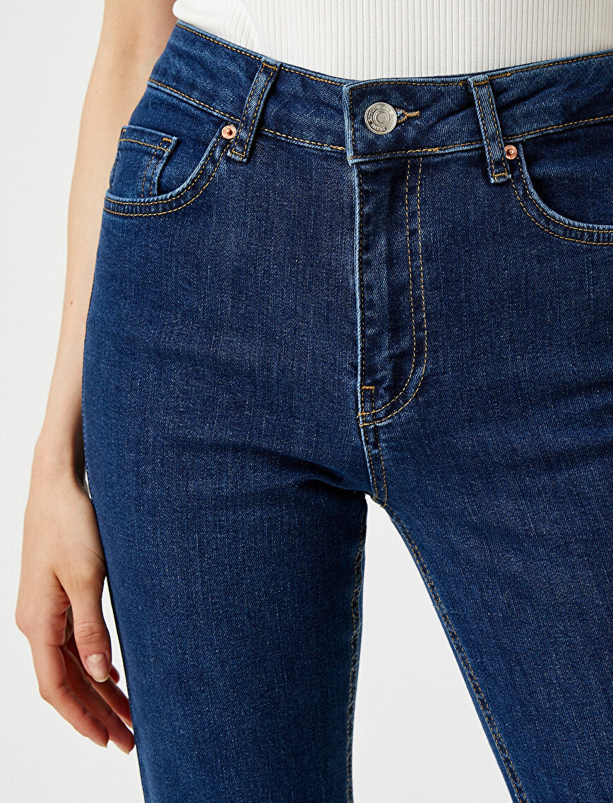 Normal Bel İspanyol Paça Kot Pantolon - Victoria Jean
