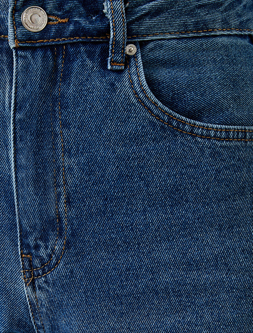 Bol Paça Yüksek Bel Dizi Yırtık Kot Pantolon - Bianca Jean