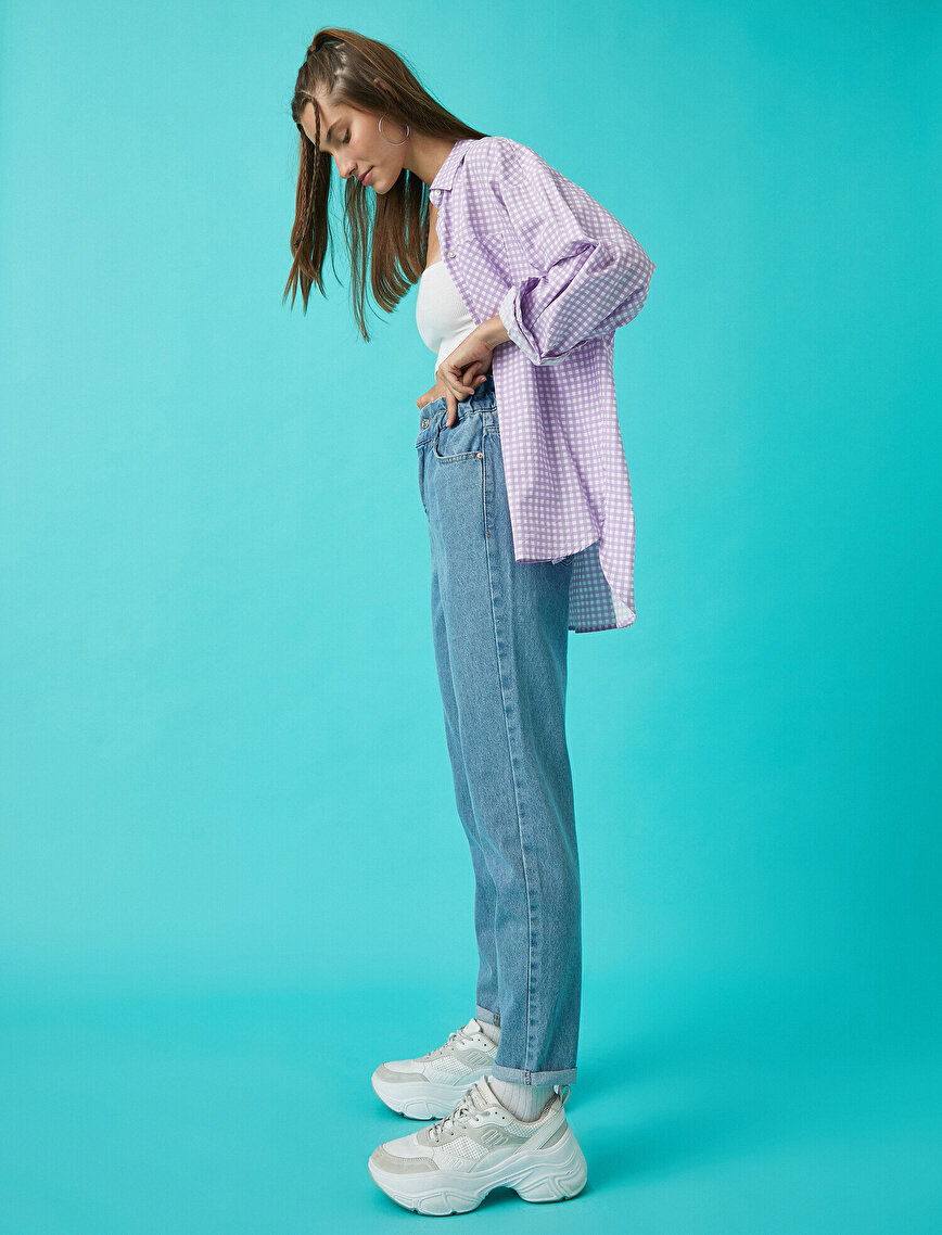 Yüksek Bel Paçası Kıvrımlı Kot Pantolon - Mom Jean