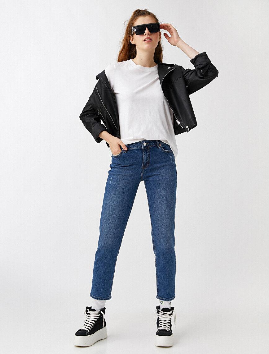 Yüksek Bel Dar Paça Kot Pantolon - Eve-Slim Jean