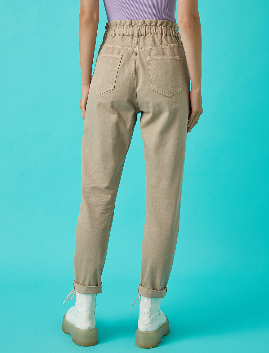 Yüksek Bel Beli Lastikli Kot Pantolon - Mom Jean
