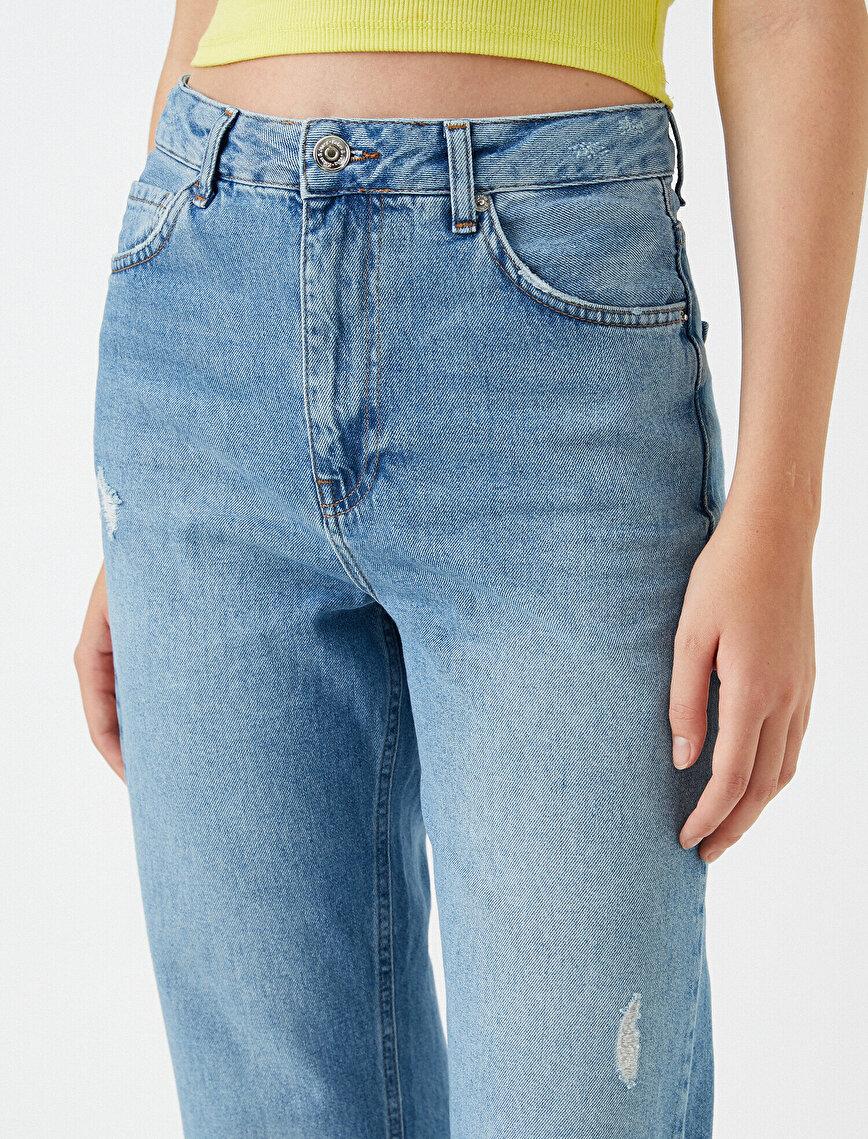 Yüksek Bel Kesik Paça Dizi Yırtık Kot Pantolon - Eve Jean