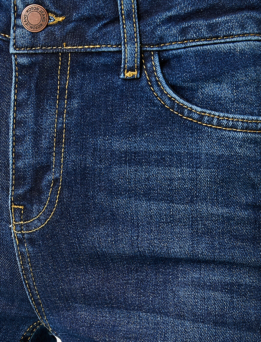 Yüksek Bel İspanyol Paça Kot Pantolon - Victoria Jean