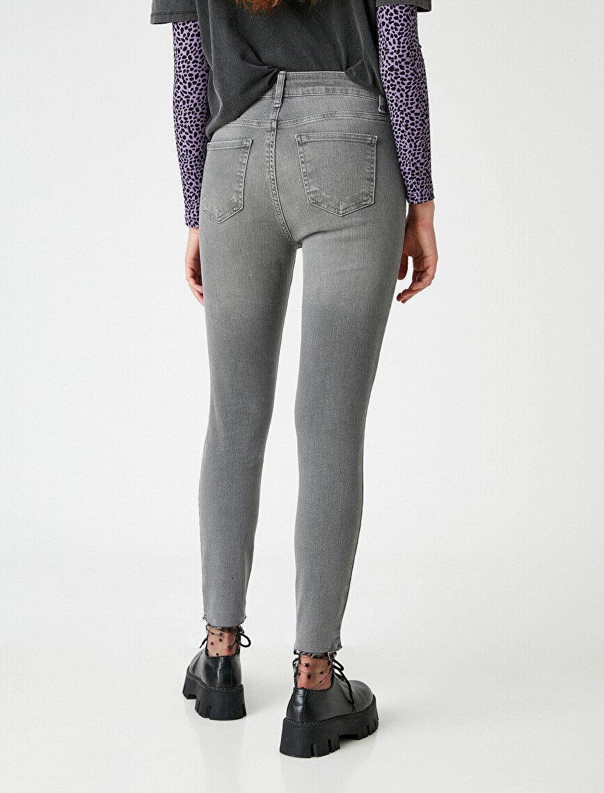 Yüksek Bel Dar Kesim Yırtık Skinny Kot Pantolon - Carmen Jean