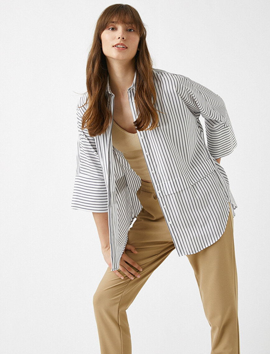 Çizgili Oversize Gömlek Uzun Kollu