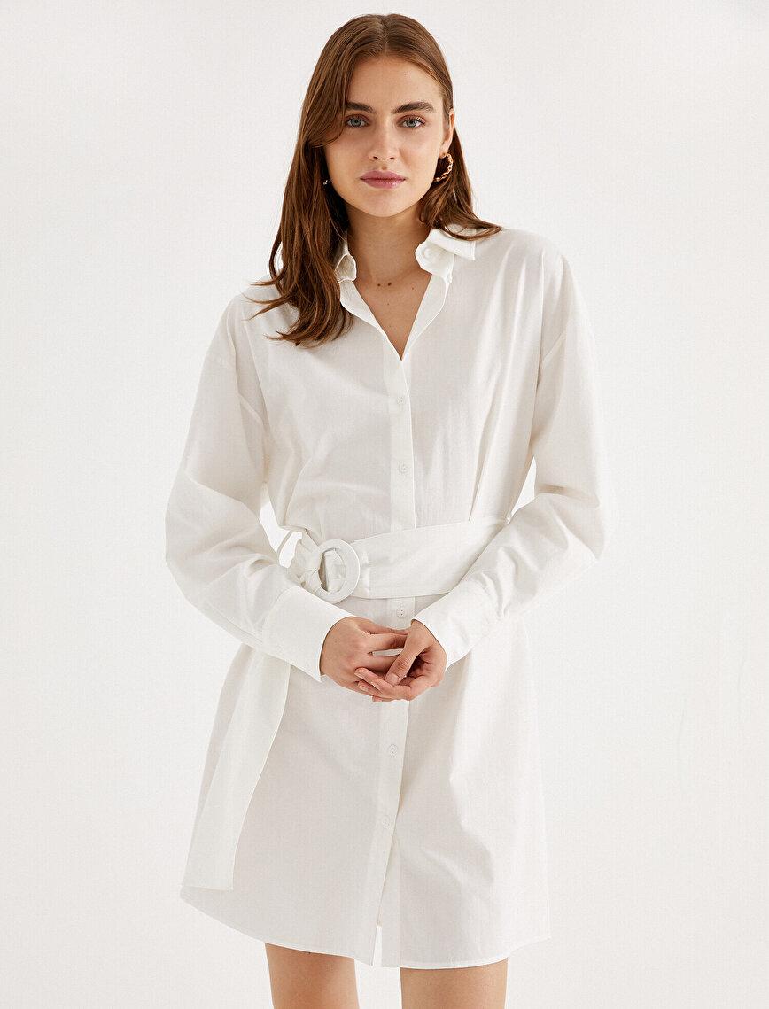 Kemerli Gömlek Elbise Pamuklu