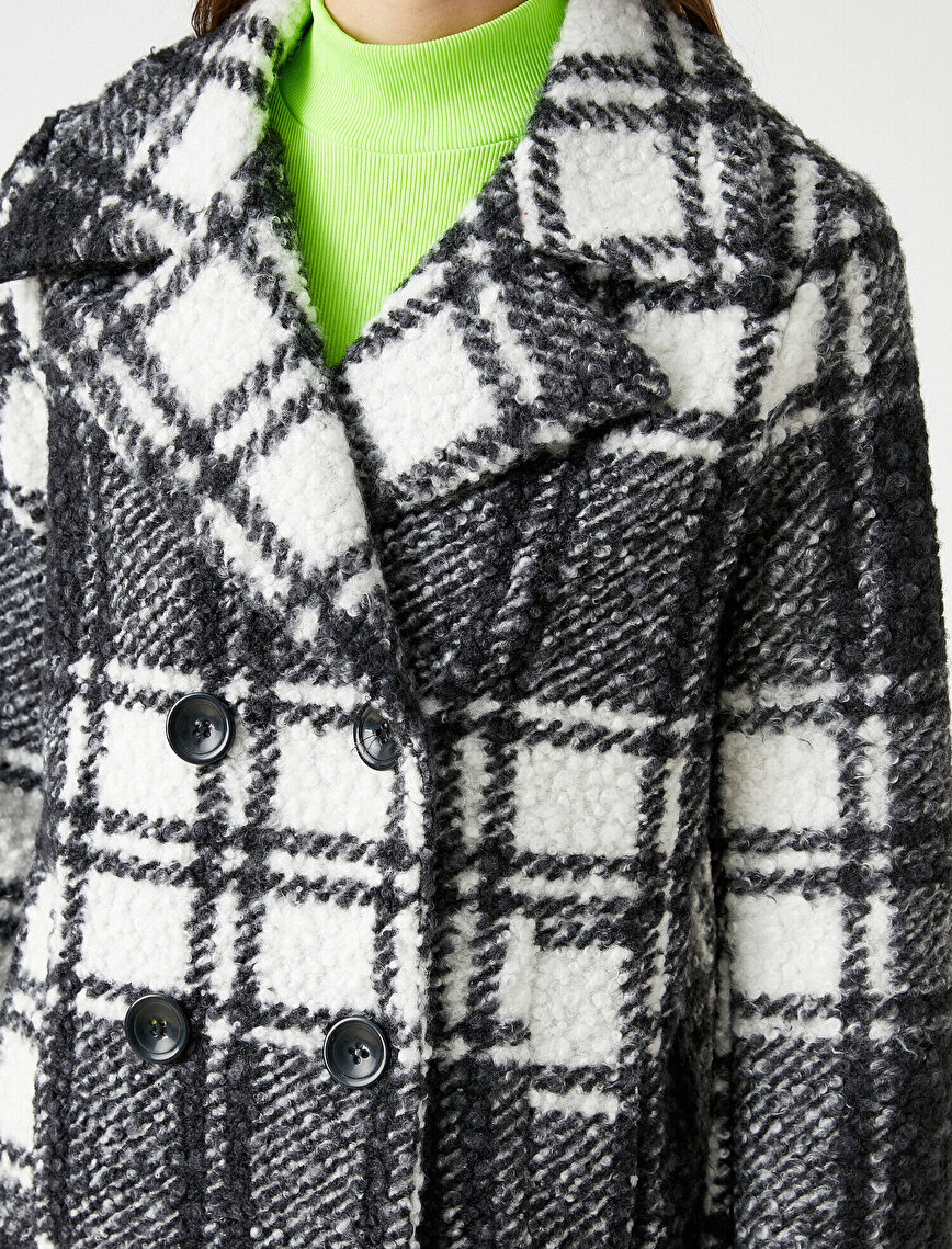 Checked Button Detail Wool Coat
