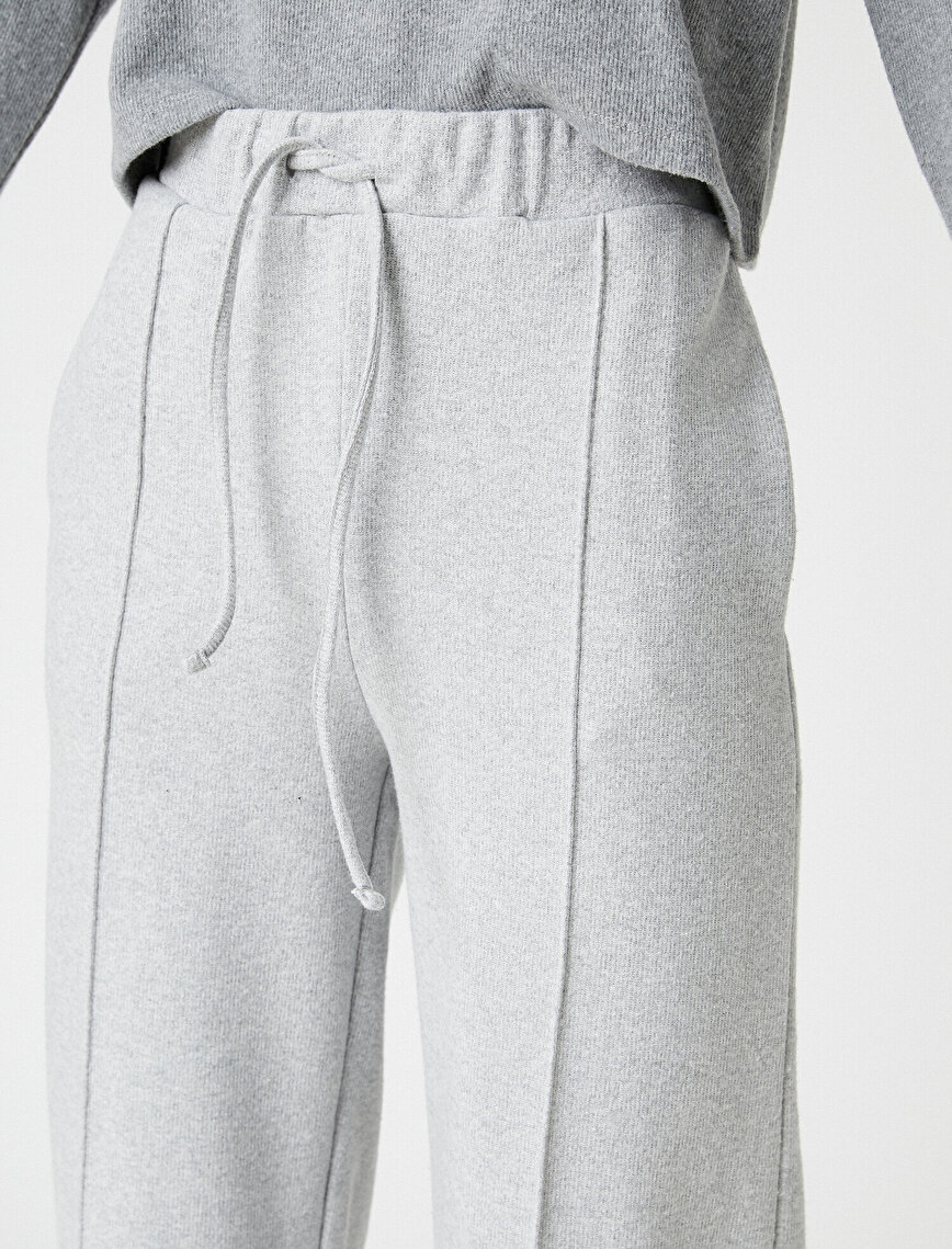 Drawstring Trousers Wide Leg Banded Front
