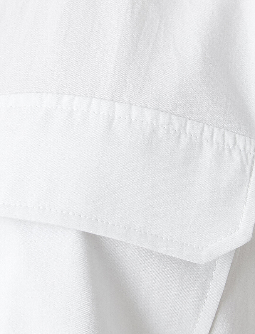 Cepli Oversize Gömlek Sırtı Yazı İşlemeli