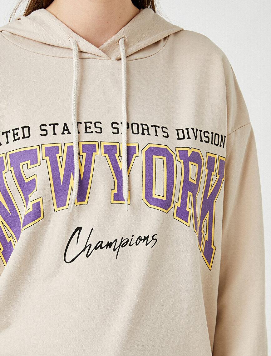 New York Baskılı Kapüşonlu Sweatshirt