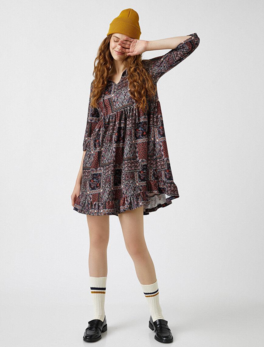 Etnik Desenli Elbise Fırfırlı Mini