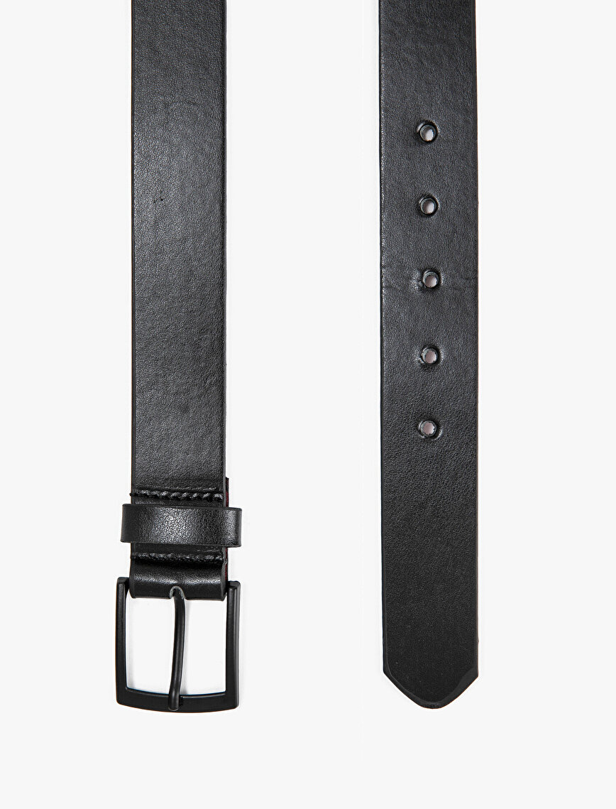 Men Faux Leather Buckle Detail Belt