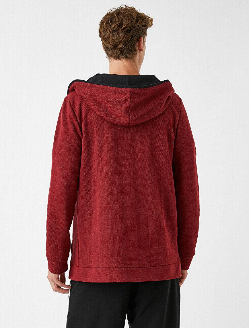 Kapşonlu Sweatshirt Fermuarlı Basic