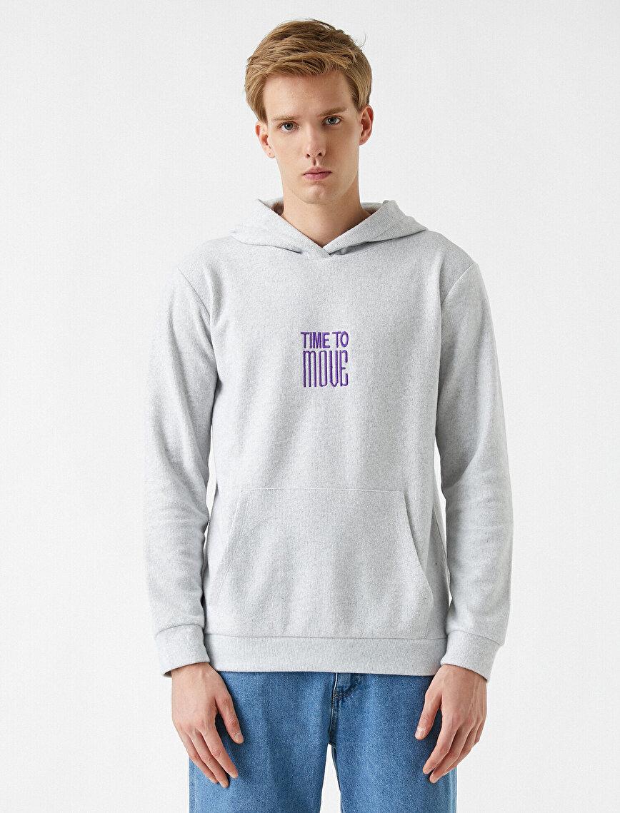 Slogan İşlemeli Sweatshirt Kapşonlu