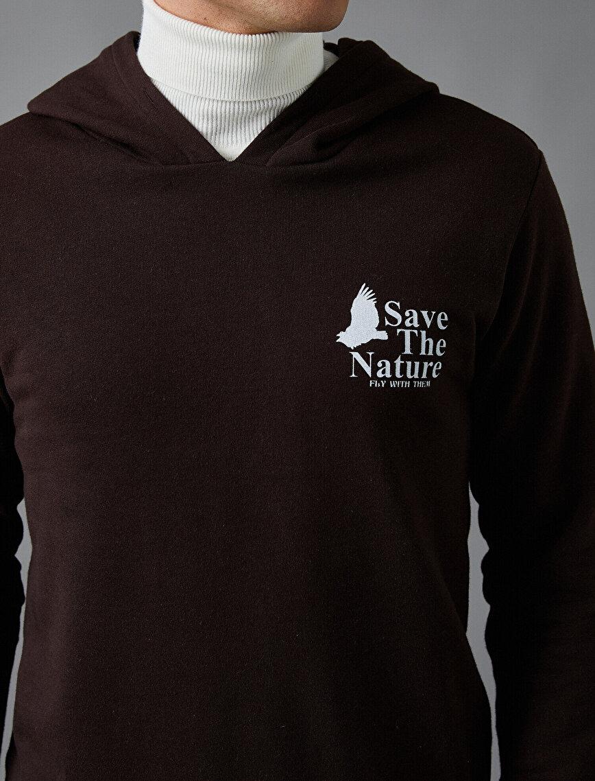Doğa Baskılı Sweatshirt Kapşonlu